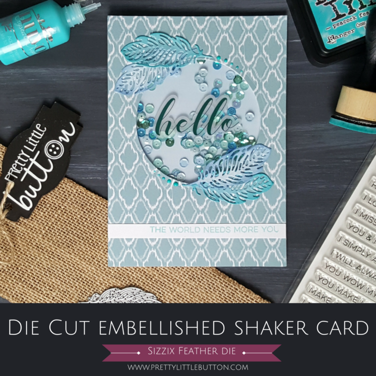Die Cut Embellished Shaker Card
