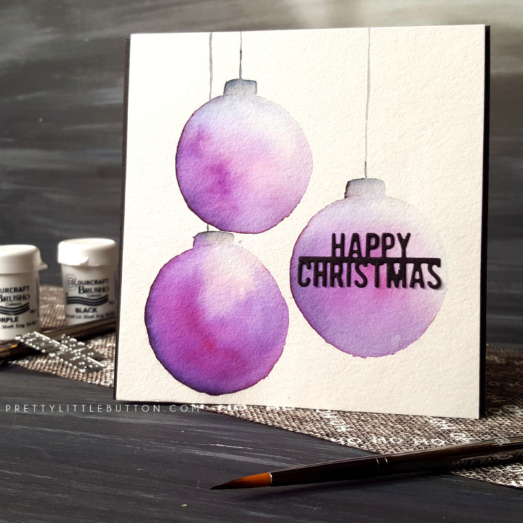 Brusho Baubles Christmas Card