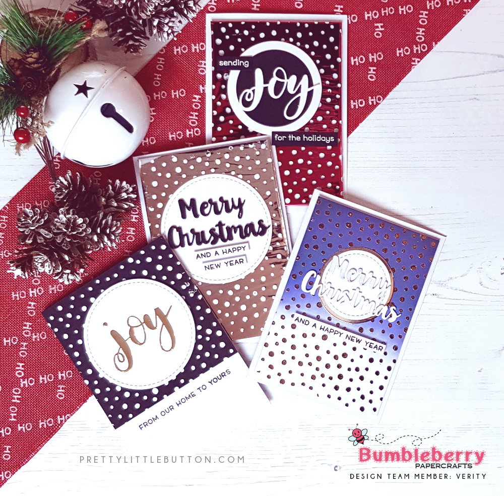 Bumbleberry Papercrafts: Stenciled foiled Christmas Cards - Pretty ...